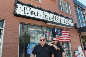 Mike Gauthier and Chuck Larkin in front of Wheat Ridge Liquor on Ridge at 38