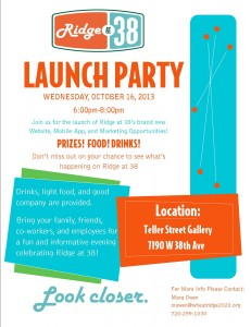 Join us for food, drinks and good company at the Ridge at 38 Launch party!